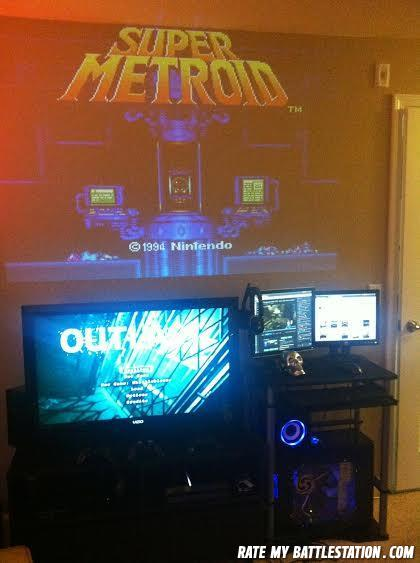 - PC, PS4, PS3, and a RetroDuo hooked up to a projec